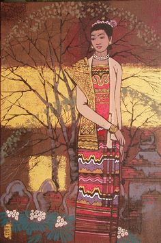 Hello all, I wrote recently about the similarities between the costumes of the major southeast Asian peoples, but of course they were. Traditional Fashion, Traditional Art, Types Of Textiles, Myanmar Traditional Dress, Thai Art, Burmese, Japanese Art, Illustration Art, Culture