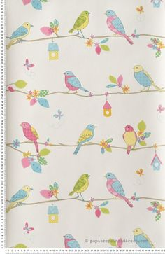 Chambre on pinterest tour de lit armoires and liberty - Papier peint oiseaux ...