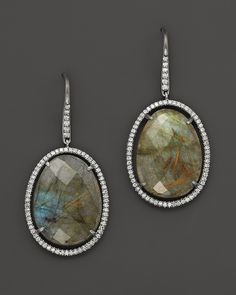 Di Massima Blackened Sterling Silver, Smoky Labradorite, Rutilated Quartz And Diamond Earrings | Bloomingdale's