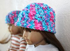 Ravelry: 18 inch Doll Cluster Beanie/Brimmed Hat pattern by Charlene Phillips