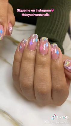 Glam Nails, Nude Nails, Beauty Nails, Acrylic Nails, Nail Design Video, Easy Nail Art, Nail Stamping, Uv Gel, Nail Inspo