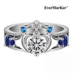 The Kiss Golden Bright Heart 925 Sterling Silver Ring Colorful CZ