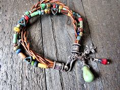 Custom Listing for Sandy  Leather and Copper Multi Strand