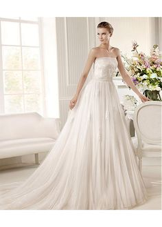 CHARMING TULLE SATIN STRAPLESS NECKLINE NATURAL WAISTLINE A-LINE WEDDING DRESS SEXY LADY LACE FORMAL PROM BRIDESSMAID