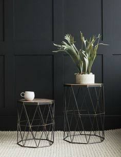 Set of Two Wood & Iron Side Tables at Rose & Grey. Buy online now from Rose & Grey, eclectic home accessories and stylish furniture for vintage and modern living Decor, Table, Furnishings, Geometric Side Table, Stylish Furniture, Living Room Wood, Retro Side Table, Side Table Wood, Furniture