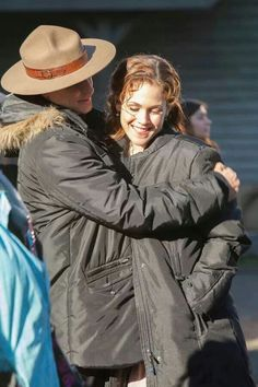 Sweet picture of Daniel Lissing & Erin Krakow trying to stay warm