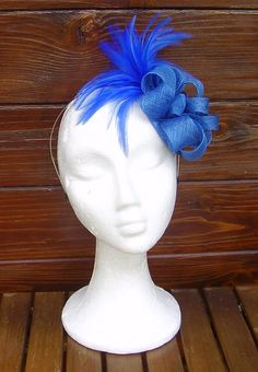 Royal blue fascinator hat / Blue headpiece / by TocameMika on Etsy, $75.00