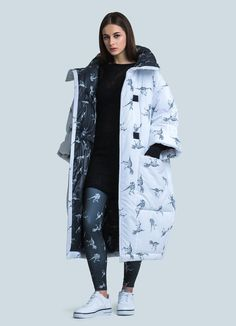 This puffer coat might be one of the most eye-catching elements of your winter wardrobe. Original dinosaur pattern - is what makes it so cool. Coats For Women, Jackets For Women, Oversized Coat, Down Coat, Sweater Coats, Winter Wardrobe, Womens Fashion, Casual, Street Style