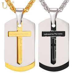 U7 Cross Necklace Pendant Christian Jewelry Bible Lords Prayer Dog Tags Gold Plated Stainless Steel Christmas Gifts For Men P682 -- Offer can be found by clicking the VISIT button