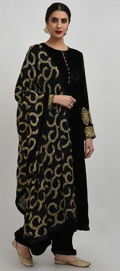 Black Pure Silk-Velvet Gold Tilla Embroidered Suit