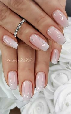Simple Wedding Nails, Wedding Nails Design, Simple Nails, Wedding Nails For Bride Natural, Pink Wedding Nails, Wedding Designs, Gorgeous Nails, Pretty Nails, Nagellack Design