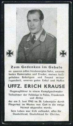 orig. WK2 STERBEBILD - DEATH CARD - PILOT Kampfgeschwader - AFRIKA / FRANKREICH