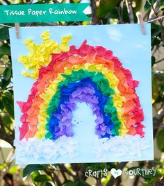 How-to Craft a  What Makes a Rainbow? Inspired Tissue Paper Rainbow Craft