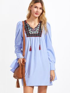 Cheap sleeve dress, Buy Quality spring dress directly from China shirt dress Suppliers: DIDK Blue Striped Embroidered Yoke Tie Sleeve Dress Boho Spring Dresses Long Sleeve V Neck Casual A Line Shirt Dress Short Sleeve Dresses, Dresses With Sleeves, Long Sleeve, Spring Dresses, Boho Dress, Blue Stripes, Cute Dresses, Tunic Tops, Shirt Dress