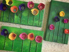 Tulpenbilder Diese Arbeit haben wir im BG- und TG-Unterricht in der Basisstufe gemacht. Die Kinder mussten dazu einen weissen Schuhschachteldeckel (aus dem Schuhladen in der Nähe) mit einem Schwämmchen und verschiedener grüner Acrylfarbe grundieren. (Bild 1) Aus Eierkartons (wir LP haben sie zuvor vorbereitet und auseinander geschnitten) haben sie dann die Tulpen geschnitten, welche später mit Plakatfarbe angemalt wurden. (Bild 2) Für das Annähen haben wir für die KG-Kinder die Tulpen mit