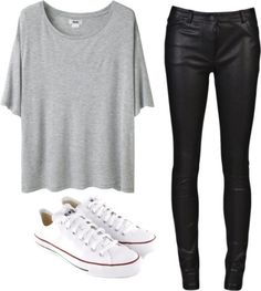 Casual, comfy outfit - Gray tee, faux leather pants, white converses very my style Mode Outfits, School Outfits, Outfits For Teens, Casual Outfits, Fashion Outfits, Converse Outfits, Casual Wear, Casual Pants, Women's Casual
