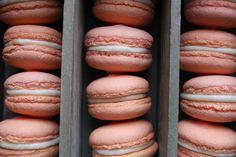 Aquafaba /chickpea brine / water peaches and cream macarons.