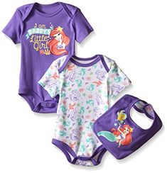 Disney Baby Little Mermaid 2 Pack Bodysuit with Bib MultiPurple Mermaid 18 Months *** Find out more about the great product at the image link. (This is an affiliate link) Cool Kids Clothes, Baby Kids Clothes, Cute Outfits For Kids, Baby Outfits, Disney Baby Clothes, Baby Disney, Disney Nursery, Little Mermaid Baby, Carters Baby Boys