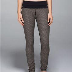 EXTREMELY RARE Lulu leggings! These leggings are one of a kind!!! Striped Black and Tan! lululemon athletica Pants Leggings