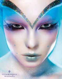 """We exist in a Transhuman world with our reliance on machine and powered energy. There's no better expression of this other than Illmasqua's futuristic fashions! Here they've utilized Body Electrics' makeup inspired by, """"kinetic energy and the fluidity of the body in motion."""""""