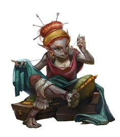 Female Gnome Seemstress - Pathfinder PFRPG DND D&D d20 fantasy