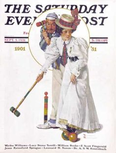 """Saturday Evening Post - 1931-09-05: """"Croquet"""" or """"Wicket   Thoughts"""" (Norman Rockwell)"""