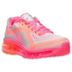 Girls' Grade School Nike Air Max 2014 Running Shoes | Finish Line | Pure Platinum/Hyper Pink/Bright Mango
