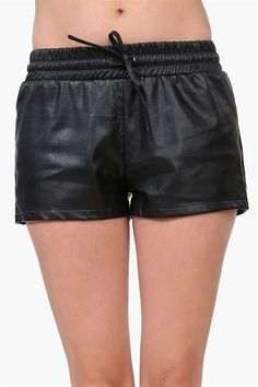 Leather Track Shorts in Black