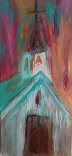 Church Painting on Etsy Angel Art, Canvas Art, Canvas Paintings, Rock Art, Painting Inspiration, Art Lessons, Painting & Drawing, Art Drawings, Art Projects