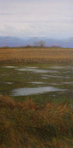 "Brett Scheifflee - ""Winthrop's Weather"" 12×6 oil on panel"