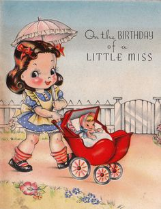 On the Birthday of a Little Miss - Vintage Birthday Card