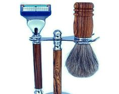 Gillette Fusion Razor Bocote Wood Men s Shaving Kit Chrome Finish Razor  Handle Badger Hair Brush and 522439a66c52c