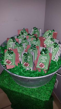 Football birthday party favors!  See more party planning ideas at CatchMyParty.com!