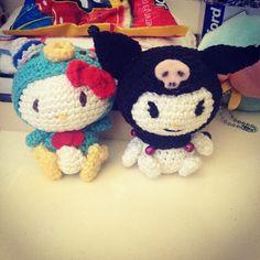 hello kitty dressed as tuxedo sam and kuromi pattern by amigurumei