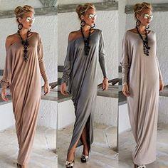 STRONGCLOUD Beautiful Fashionable Popular Fresh Attractive Casual Long Sleeve Maxi Dresses For Women Light Gray-XXL
