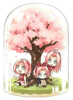 Haruno Sakura, snow globe, cute, chibi, different ages, time lapse, young, childhood; Naruto