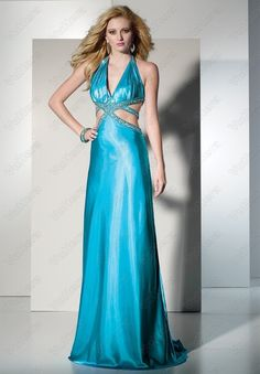 Beaded Backless Halter Satin Blue Prom Dress - Vuhera.com