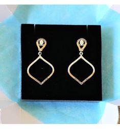 d041f7226b95 Pendientes largos de plata con pequeñas piedras hidrotermales en tonos  ambar