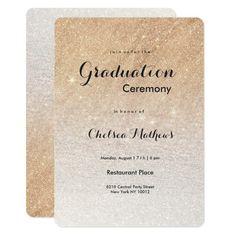 Stylish elegant gold faux glitter Graduation Card Customizable Gifts #beach #summer #party #invitation