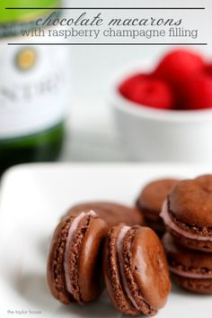 Chocolate Macarons with a Raspberry Champagne Filling!