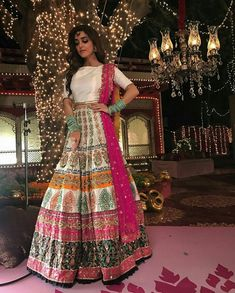 Maya Ali wearing gorgeous colorful lehanga and choli Bridal Mehndi Dresses, Pakistani Wedding Outfits, Indian Gowns Dresses, Pakistani Wedding Dresses, Bridal Outfits, Bridal Lehenga, Pakistani Mehndi Dress, Punjabi Wedding, Indian Attire
