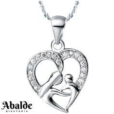 5611b06fc71f Collar Colgante Mujer Corazón Madre e Hija Plata Regalo ideal Mama Pareja  Novia
