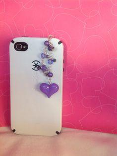 Purple Heart cell phone charm dust plug charm by PmBSparklesLinks, $7.50