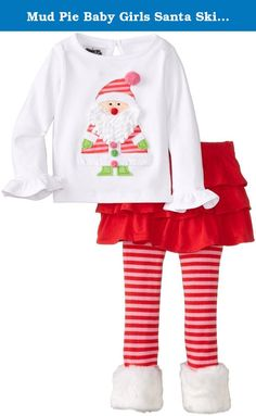 Mud Pie Baby Girls Santa Skirt Set Christmas Holiday 6-9 Months. 2-piece set. Cotton shirt features dimensional Santa appliqué with ruffled sleeve. Comes with tiered skirt and cotton knit leggings with faux-fur cuffs.