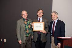 National Audubon board member Alan Dolan, Columbus Audubon President Bill Heck, and national Audubon President David Yarnold with a certificate recognizing the 100th anniversary of Columbus Audubon.