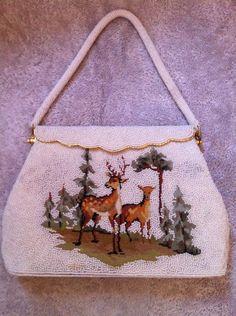 Vintage Deer Stag In Meadow Beaded Evening Bag Rare Deer Purse