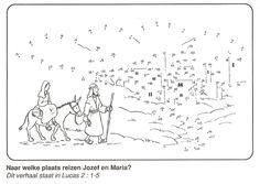 Jozef en Maria reizen van Nazareth naar Bethlehem van stip naar stip