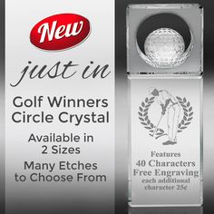 Our New #GolfCrystal is a Great #GolfAward for Any Golfer! Features a Circle Cut-Out with a 3D #GolfBall Inside!  https://www.crownawards.com/StoreFront/GLWCGF6.ALL.Crystal_Awards.Golf_Winners_Circle_Crystal.prod