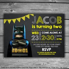 Lego Batman Chalkboard Invitation - PRINTABLE - Digital File - Kids Birthday Boys Party Supplies Yellow Grey Bat Man Invite Chalk - V027 by LeosPrintables on Etsy https://www.etsy.com/listing/508633669/lego-batman-chalkboard-invitation
