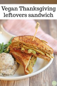 This vegan Thanksgiving leftovers sandwich makes everything old new again. Its packed with slices of vegan turkey orange cranberry sauce and avocado. Thanksgiving Leftovers, Vegan Thanksgiving, Vegan Christmas, Thanksgiving Table, Crisp Sandwiches, Vegan Sandwiches, Sandwich Recipes, Dairy Free Recipes, Vegan Recipes